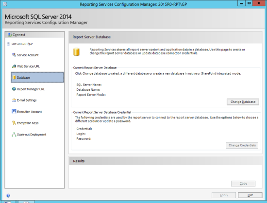 Reporting Services Configuration Manager - Database