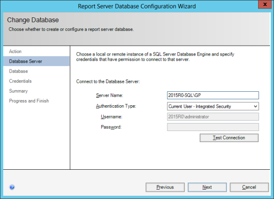 Reporting Services Configuration Manager - Change Database - Database Server