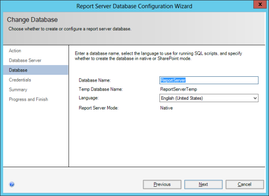 Reporting Services Configuration Manager - Change Database - Database