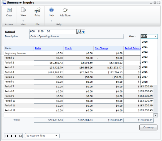Combined General Ledger Summary Inquiry