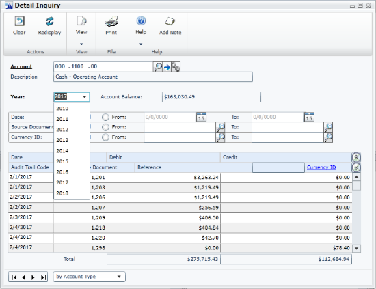 Combined General Ledger Detailed Inquiry