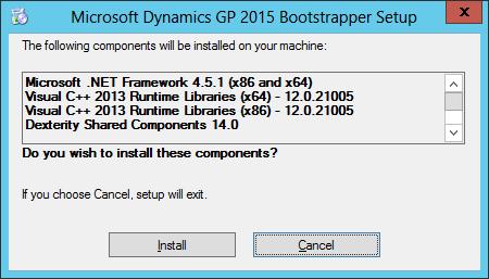 Microsoft Dynamics GP 2015 Bootstrapper Setup