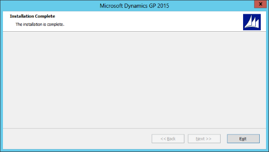 Microsoft Dynamics GP 2015: Installation Complete