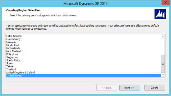 Microsoft Dynamics GP 2015: Country/Region Selection