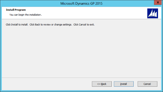 Microsoft Dynamics GP 2015: Install Program
