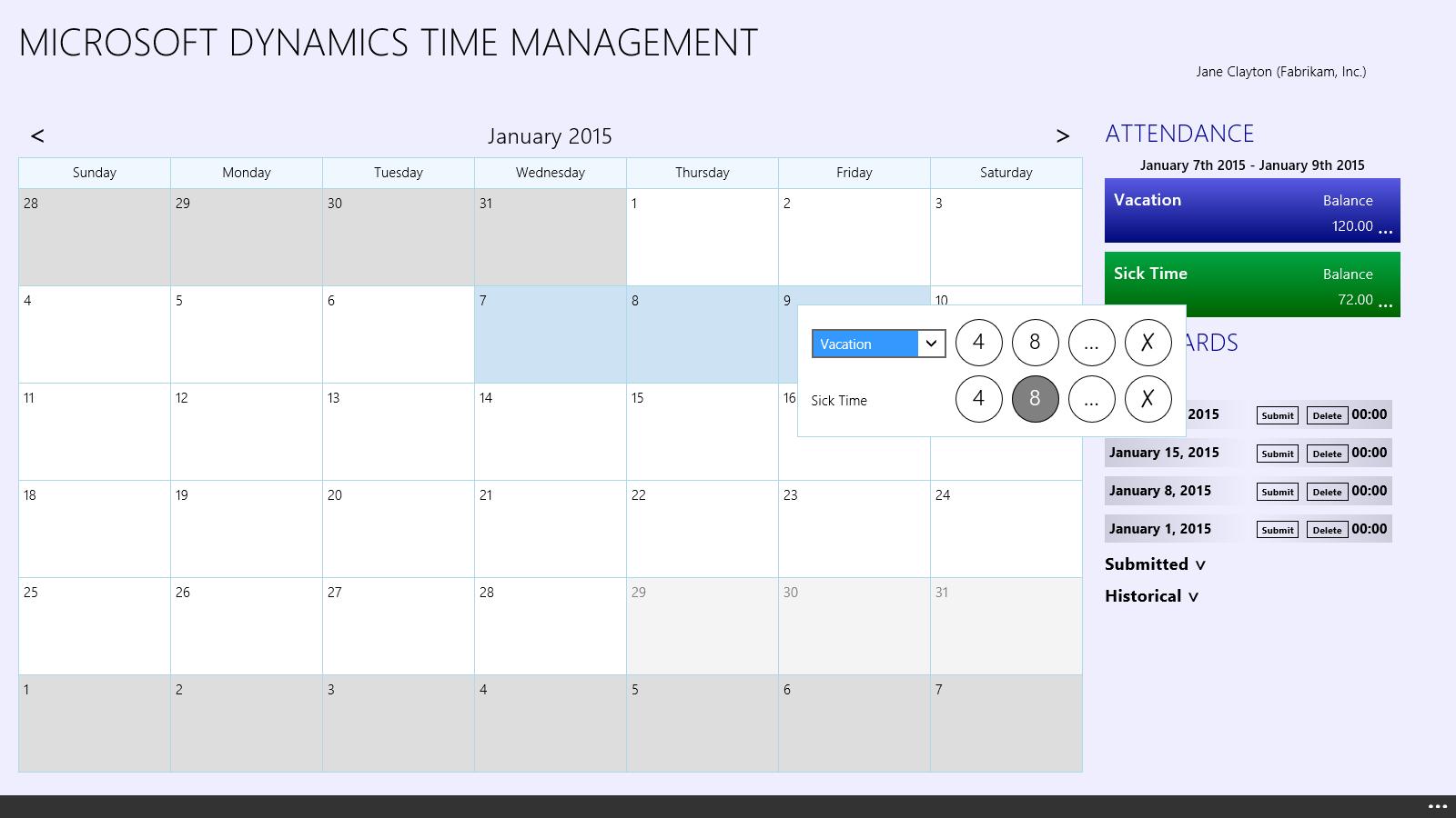 Time Management App Entering Time