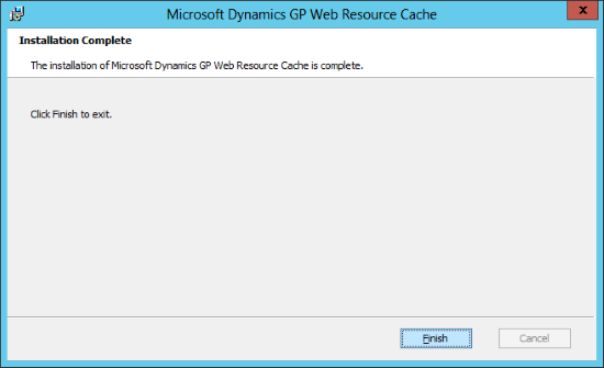 Microsoft Dynamics GP Web Resource Cache: Installation Complete