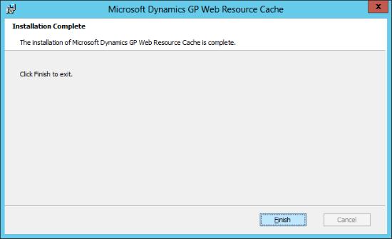 Microsoft Dynamics GP Web Resource Cache: Installation Complete