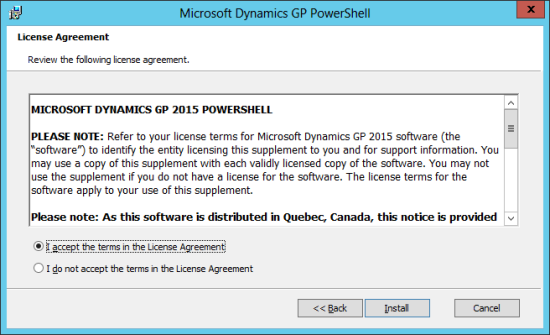 Microsoft Dynamics GP PowerShell: License Agreement