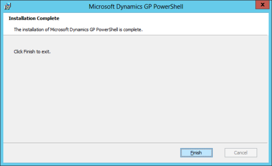 Microsoft Dynamics GP PowerShell: Installation Complete