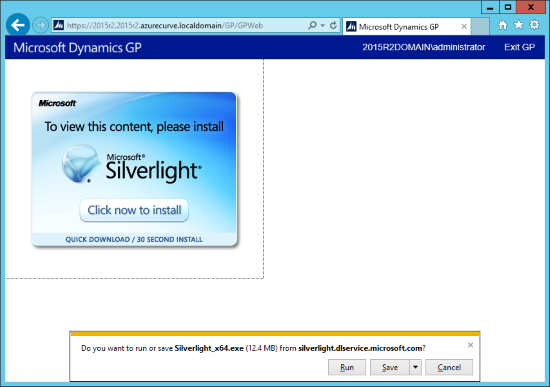 Do you want to run or save Silverlight_x64.exe (12.4 MB) from silverlight.dlservice.microsoft.com?