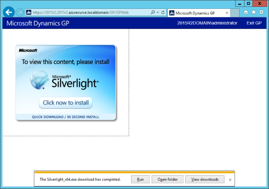Click run to install Silverlight