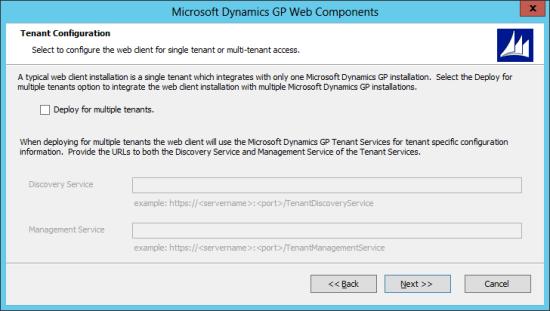 Microsoft Dynamics GP Web Components: Tenant Configuration
