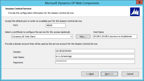 Microsoft Dynamics GP Web Components: Session Central Service