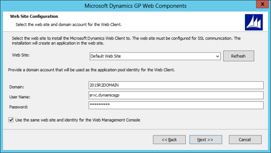 Microsoft Dynamics GP Web Components: Web Site Configuration