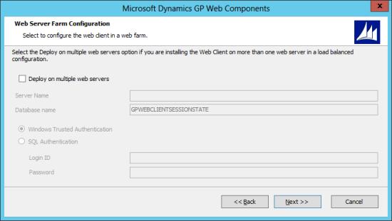 Microsoft Dynamics GP Web Components: Web Server Farm Configuration