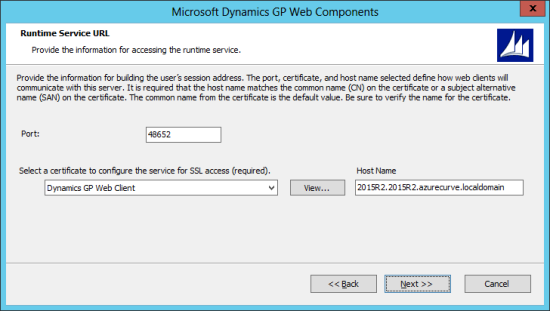 Microsoft Dynamics GP Web Components: Runtime Service URL