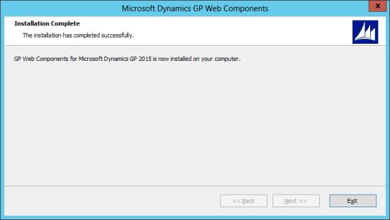 Microsoft Dynamics GP Web Components: Installation Complete