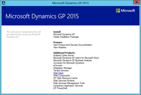Microsoft Dynamics GP Web Components: Microsoft Dynamics GP 2015