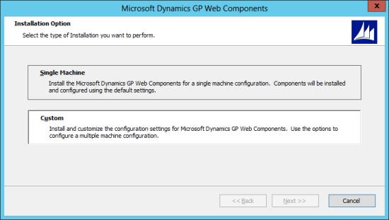 Microsoft Dynamics GP Web Components: Installation Option