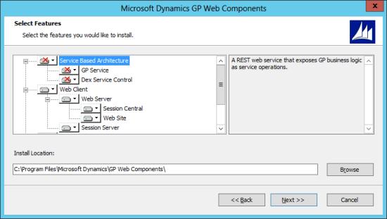 Microsoft Dynamics GP Web Components: Select Features