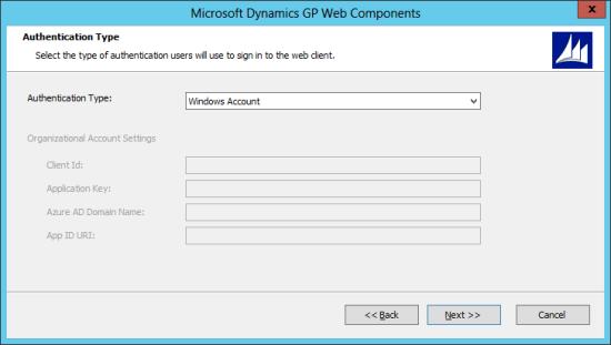 Microsoft Dynamics GP Web Components: Authentication Type