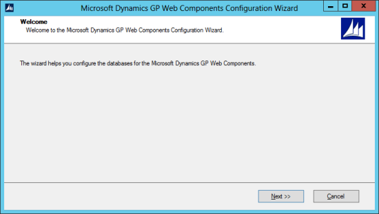 Microsoft Dynamics GP Web Components Configuration Wizard: Welcome