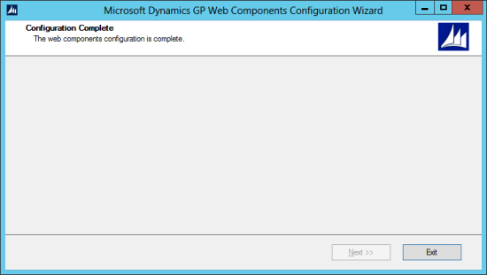Microsoft Dynamics GP Web Components Configuration Wizard: Configuration Complete
