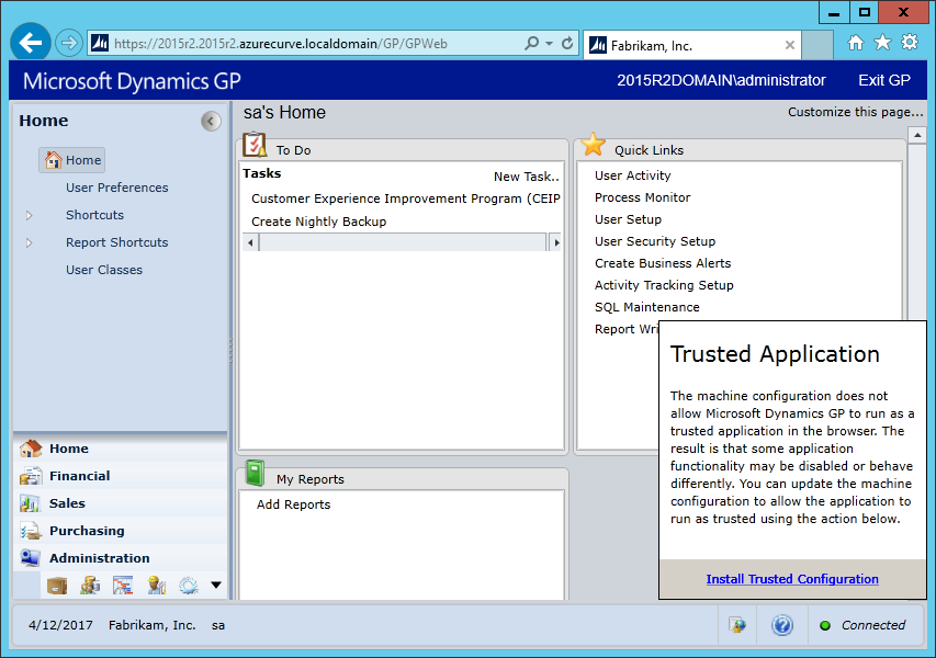 DynamicsGPTrustedApp: In order for the changes to take effect, you must sign out of Dynamics GP and then sign back in
