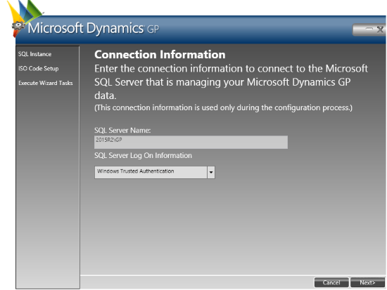 Web Services for Microsoft Dynamics GP Configuration Wizard: Connection Information