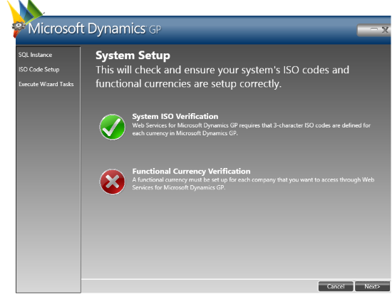 Web Services for Microsoft Dynamics GP Configuration Wizard: System Setup