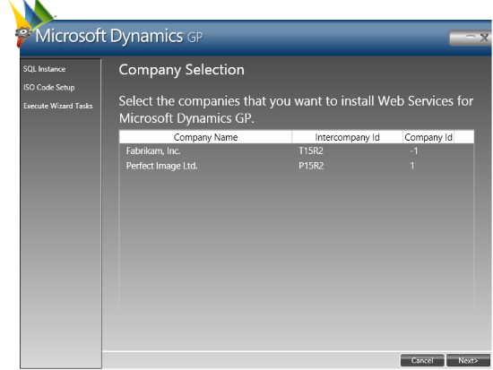 Web Services for Microsoft Dynamics GP Configuration Wizard: Company Selection
