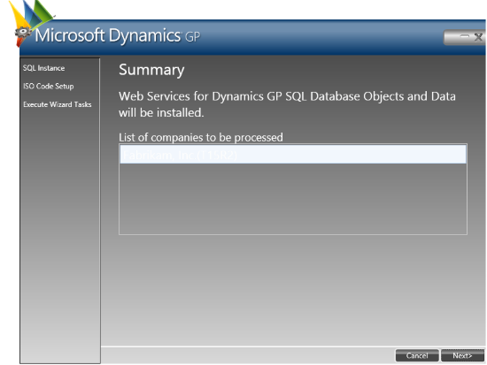 Web Services for Microsoft Dynamics GP Configuration Wizard: Summary