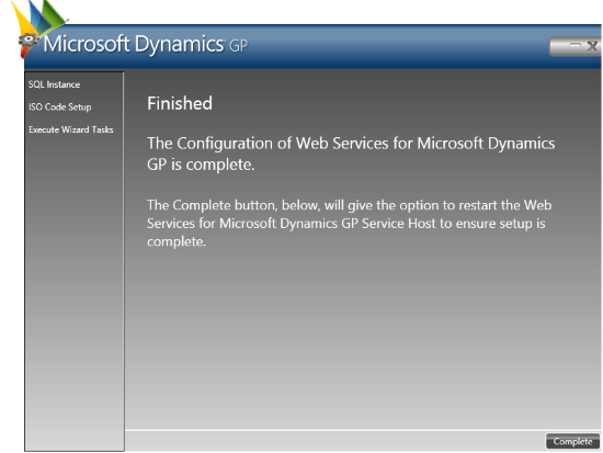 Web Services for Microsoft Dynamics GP Configuration Wizard: Finished