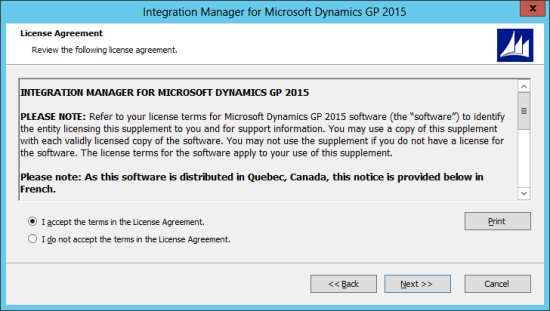Integration Manager for Microsoft Dynamics GP 2015: License Agreement