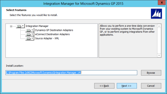 Integration Manager for Microsoft Dynamics GP 2015: Select Features