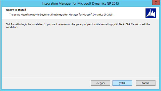 Integration Manager for Microsoft Dynamics GP 2015: Ready to Install