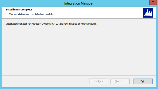 Integration Manager for Microsoft Dynamics GP 2015: Installation Complete