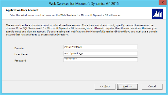 Web Services for Microsoft Dynamics GP 2015: Application User Account