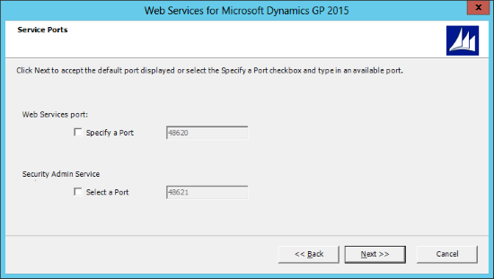 Web Services for Microsoft Dynamics GP 2015: Service Ports