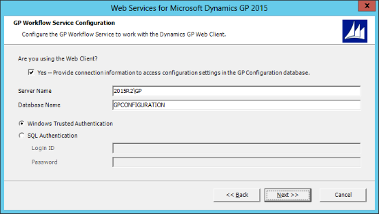 Web Services for Microsoft Dynamics GP 2015: GP Workflow Service Configuration