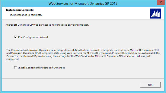 Web Services for Microsoft Dynamics GP 2015: Installation Complete