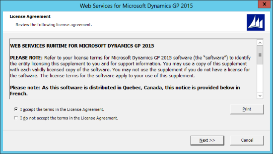 Web Services for Microsoft Dynamics GP 2015: License Agreement