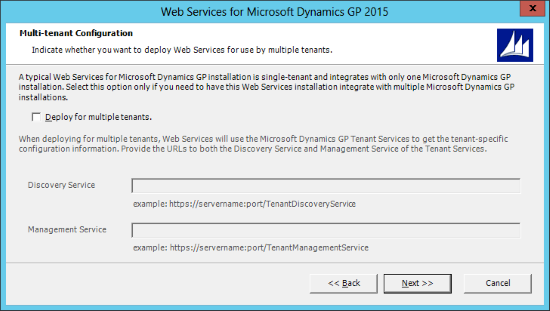 Web Services for Microsoft Dynamics GP 2015: Multi-tenant Configuration