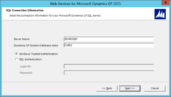 Web Services for Microsoft Dynamics GP 2015: SQL Configuration Information