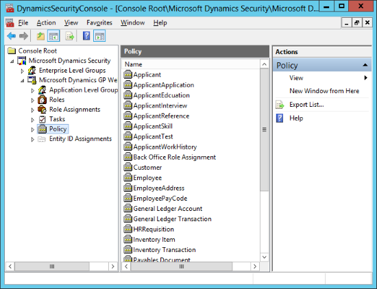 DynamicsSecurityConsole: Console Root » Microsoft Dynamics Security » Microsoft Dynamics GP Web Services » Policy