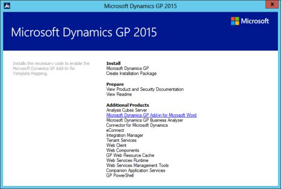 Microsoft Dynamics GP 2015 setup utility