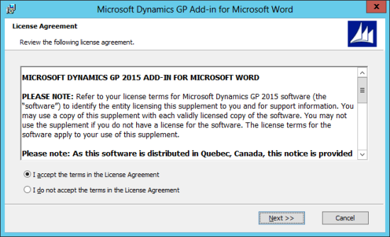 Microsoft Dynamics GP Add-in for Microsoft Word Setup: License Agreement