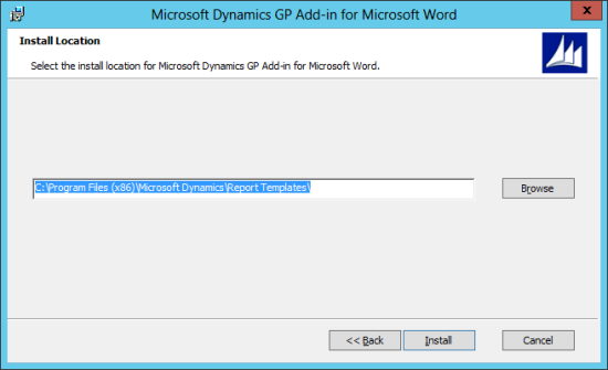 Microsoft Dynamics GP Add-in for Microsoft Word Setup: Install Location