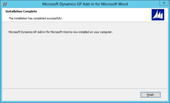 Microsoft Dynamics GP Add-in for Microsoft Word Setup: Installation Complete